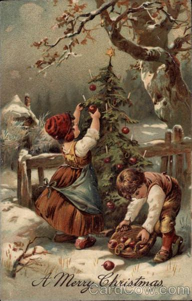 children collecting apples  decorating  christmas tree