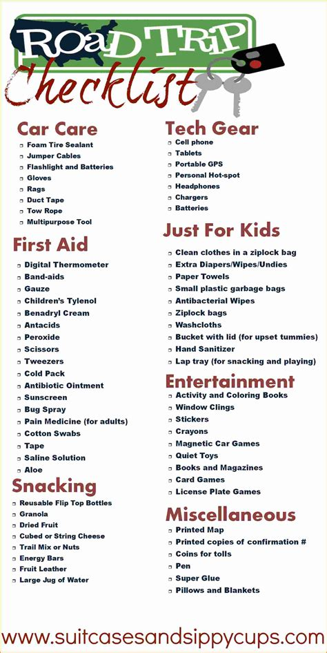 printable road trip checklist 5 list of things to pack for a trip authorization letter