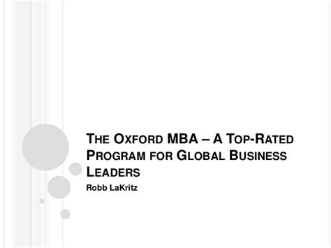 Oxford Mba Program by The Oxford Mba A Top Program For Global Business