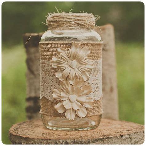 lace and burlap wedding centerpiece mason jars barn
