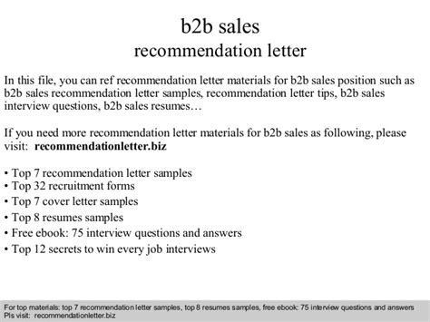 B2b Sales Letter Template B2b Sales Recommendation Letter