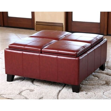 leather square ottoman coffee table abbyson living trapani square faux leather ottoman coffee
