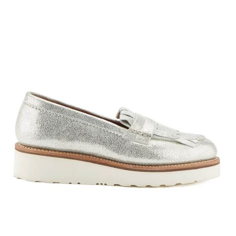 silver loafers womens grenson s juno sparkle frill loafers silver free