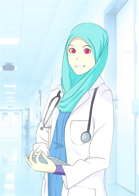 anime perempuan muslimah doctor colored by joehanif on deviantart