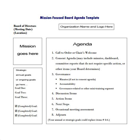 meeting governance template 9 meeting outline templates free word pdf documents