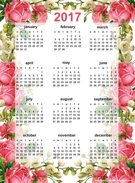 printable calendar 2017 pink free printable 2017 rose calendar ausdruckbarer kalender