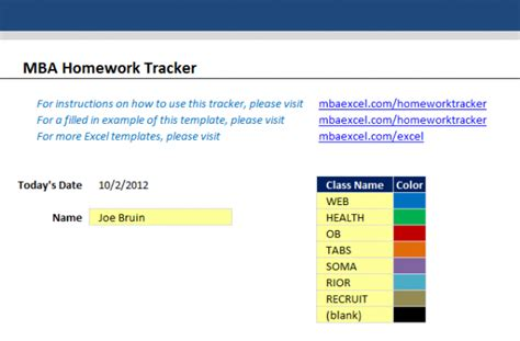 Http Www Mbaexcel Mba Mba Excel Story Tracker by Homework Diary Sle