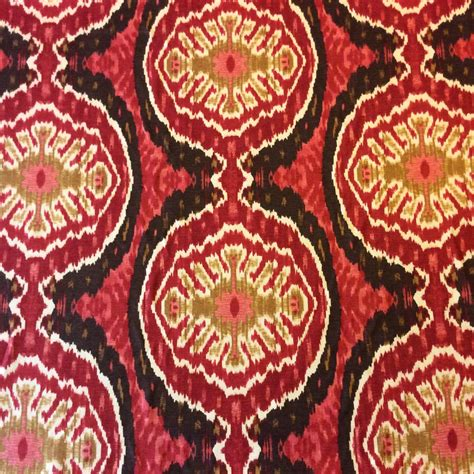 ikat home decor fabric nl222 brown red medallion ikat geo drapery cotton linen