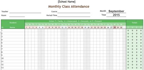 tracking sheet template for teachers students monthly attendance record and tracking template