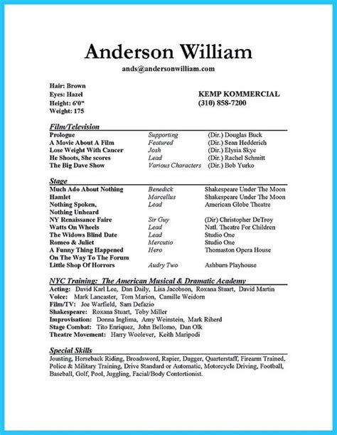 professional acting resume template the world s catalog of ideas