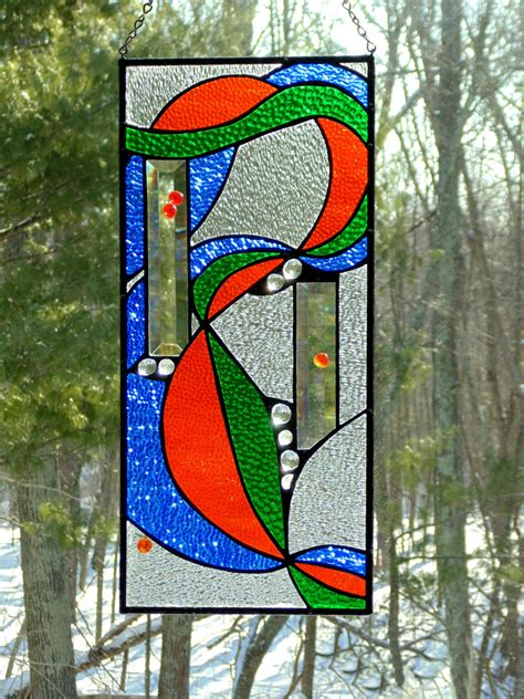 stained glass decorations stained glass window panel abstract ribbon decor