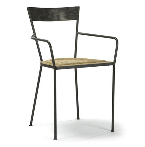 Burlap Dining Chairs Klaas Industrial Modern Steel Burlap Seat Dining Arm Chair Kathy Kuo Home