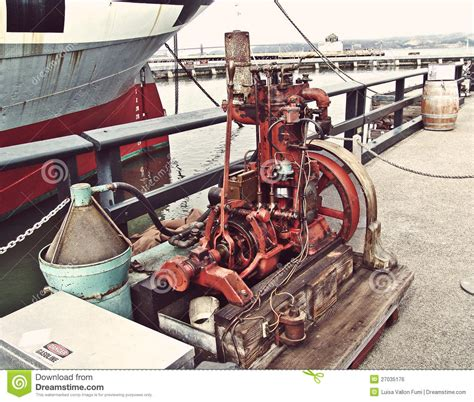 old fishing boat engine san francisco old gas engine for motor boat editorial