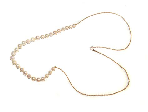 gold add a bead necklace 14k gold genuine pearl add a bead necklace 25 1 2 quot from