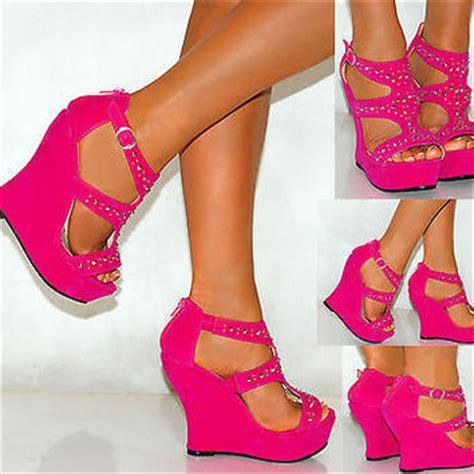 High Heels Wadges Lld 354 coral pink blue faux suede from saffron109 on ebay
