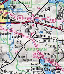 kaufman county map hotels motels