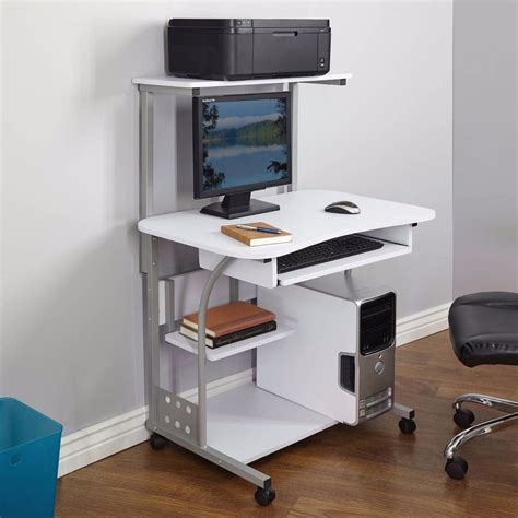 printer desk desk computer table w printer shelf home office rolling