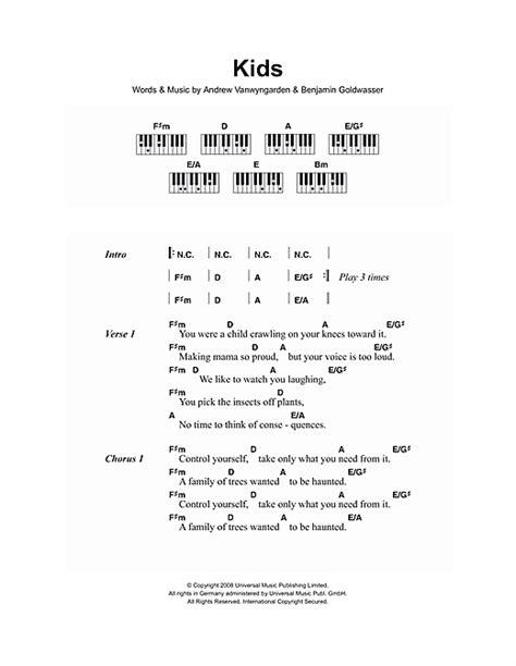 lyrics and piano chords sheet by mgmt lyrics piano chords 107320