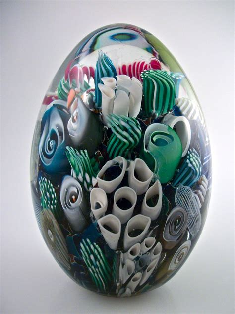 Glass Paper Weight - reef paperweight egg by michael egan glass