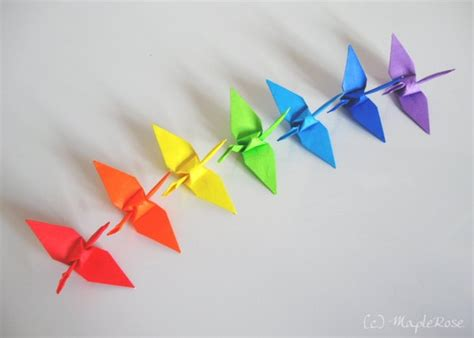 What Is Origami - origami rainbow cranes 1 by maplerose on deviantart