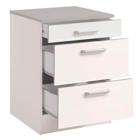meuble bas de cuisine contemporain 60 cm 3 tiroirs blanc