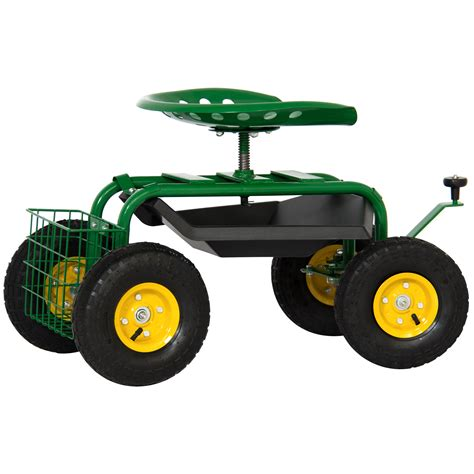 Rolling Garden Work Seat by Garden Cart Rolling Work Seat With Tool Tray Heavy Duty