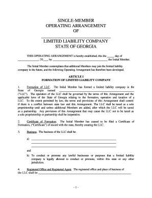 single member llc operating agreement template free llc operating agreement forms and templates fillable