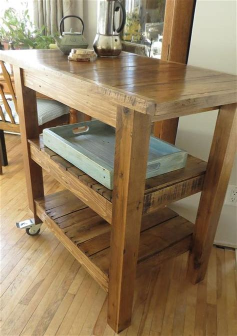 diy pallet made kitchen island table 101 pallets for the home tea cart