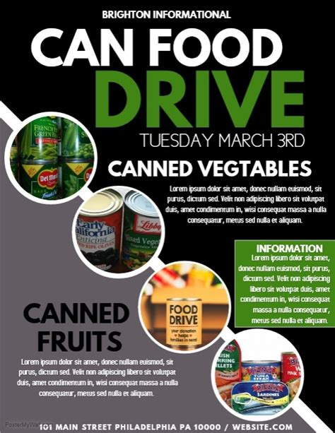 canned food drive flyer template can food template postermywall