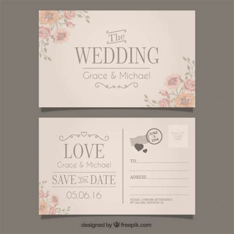 wedding postcard template wedding invitation in postcard style vector free
