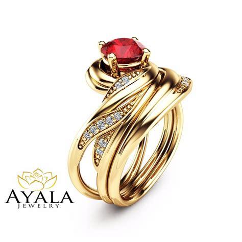 unique ruby wedding ring set in 14k yellow gold vintage styled bridal ring set ebay