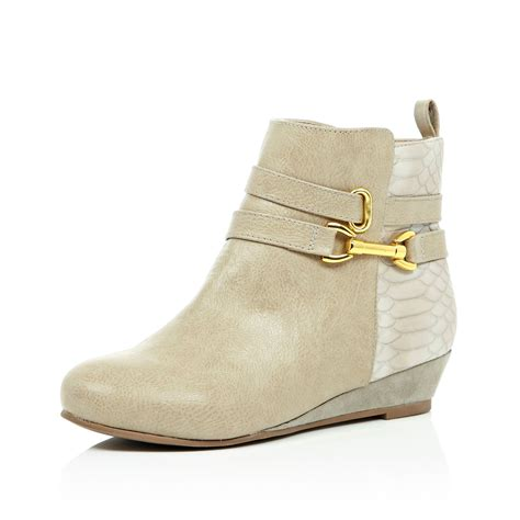river island wedge ankle boots in beige