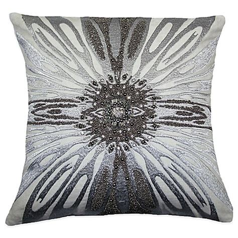 silver beaded pillow adele beaded square throw pillow in silver bed bath beyond