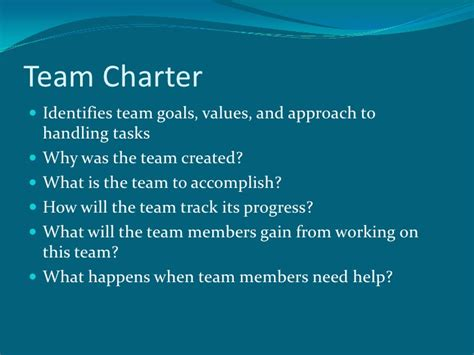 team charter and building