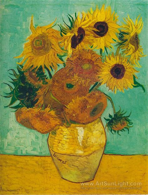 twelve sunflowers in a vase vincent gogh