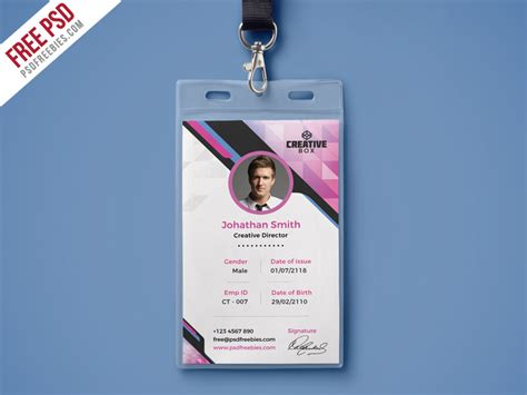 company id card template cdr free psd company photo identity card psd template by psd