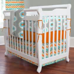 Crib Bedding Sets Orange Gray And Orange Ikat Dot 3 Mini Crib Bedding Set
