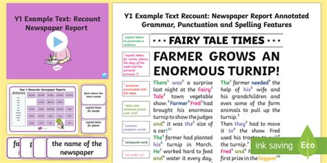 Y1 Recounts Newspaper Report Example Text Example Texts Y1