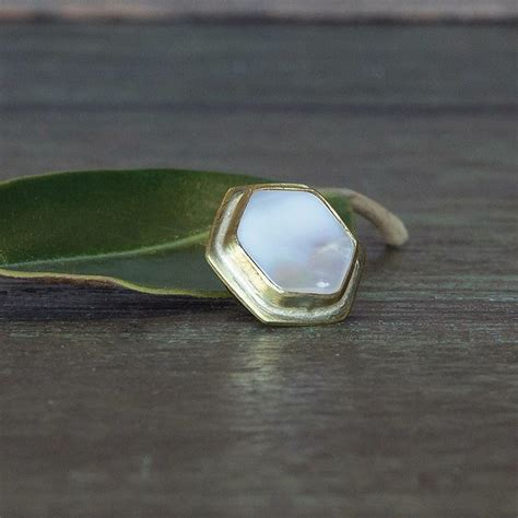 OraTen Lapel Brass Pin Mother of Pearl   Hexagon   AREOhome