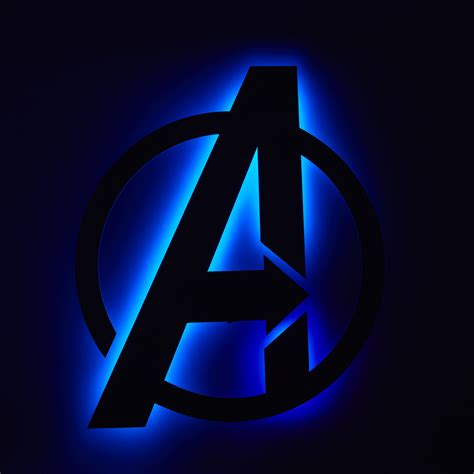 Modern Blue Kitchen by Avengers Logo Floating Metal Wall Art Led Backlit