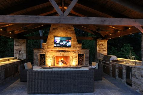 Kitchen Pleasant Bull Outdoor Kitchens With Lcd Tv Above Outdoor Kitchen And Fireplace