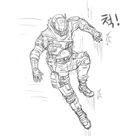Titanfall 2 Coloring Pages by Titanfall Pilot Drawing Sketch Coloring Page