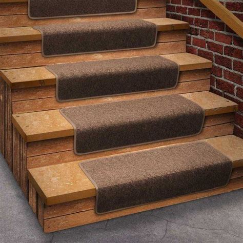 13 attachable basement step carpet stair treads brown