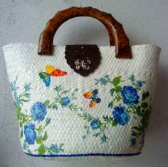 Mini Pandan Clutch tote bag with decoupage decoupage