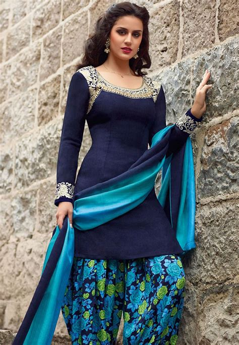 dark blue art pashmina silk kameez  patiala kwy