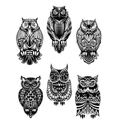 tattoo animal set tribal owl bird tattoo set vector by seamartini on