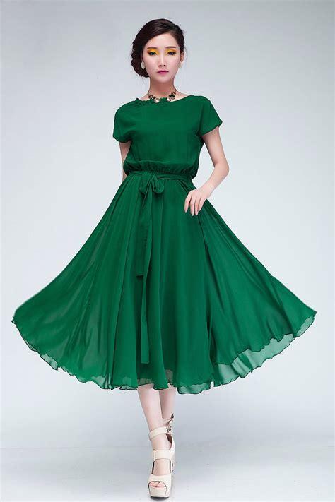chiffon clothing fashion pleated o neck sleeves green chiffon mid
