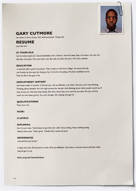 Resume For Ex by Clever Resume Print Ads Highlight The Discrimination Faced