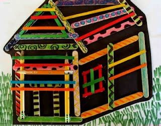 house pattern for kindergarten craft stick house drawing perspective lessons pinterest