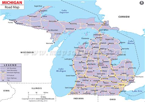 map michigan usa michigan road map road map of michigan or highway map